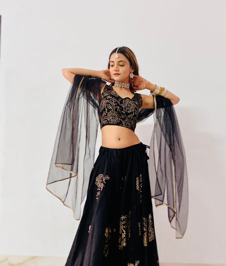 Hand Block Print Black Jaam Silk Lehenga Choli and Dupatta Set