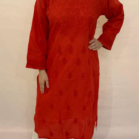 Embroidery Red Cotton Chikankari Kurta
