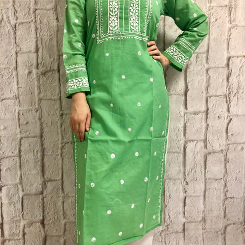 Embroidery Green Cotton Kurta