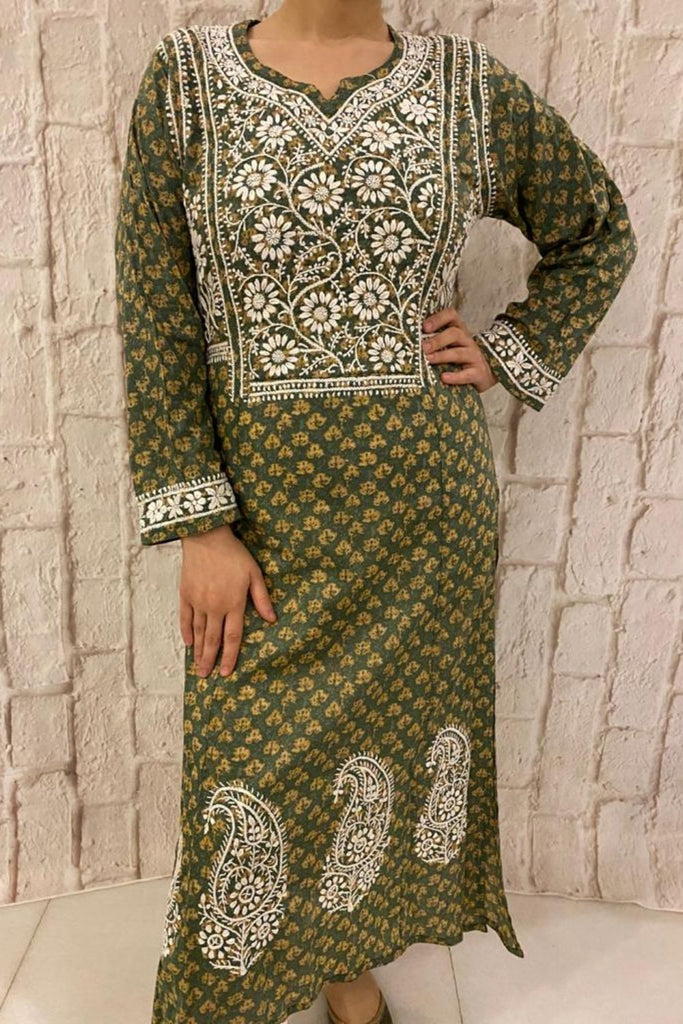 Earthy Green Cotton Chikankari Kurta