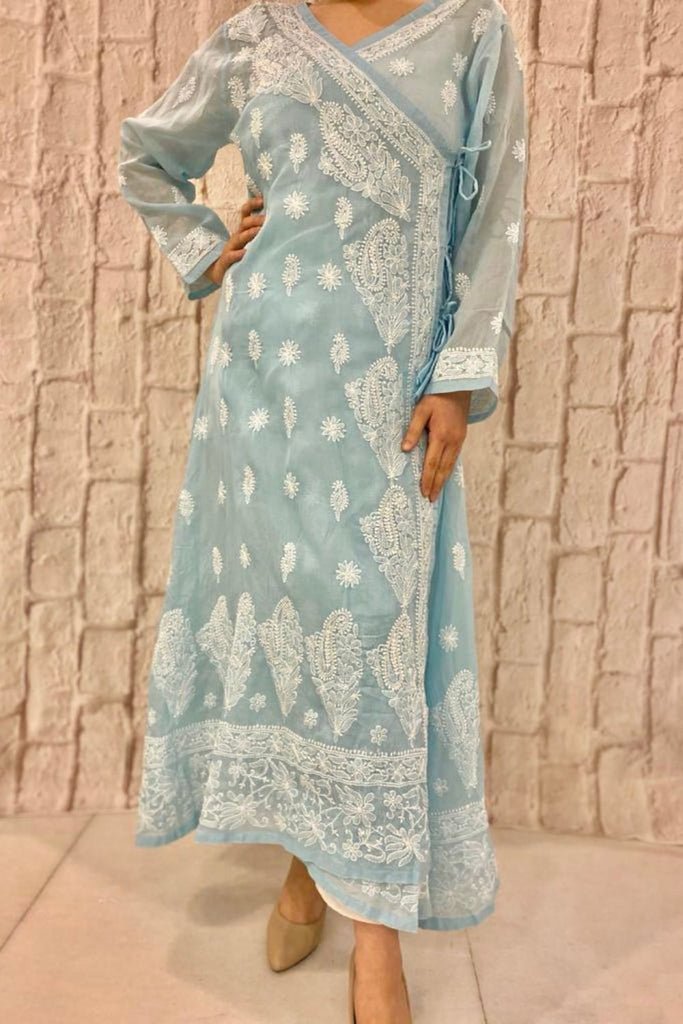 Powder Blue Cotton Chikankari Angrakha
