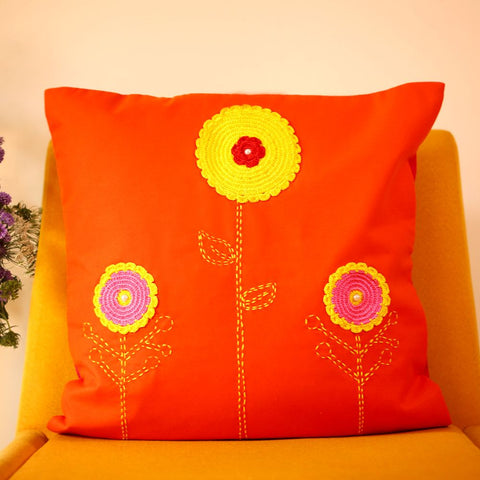 Orange Cushion Cover with Yellow Crochet Flower and Katha Embroidery