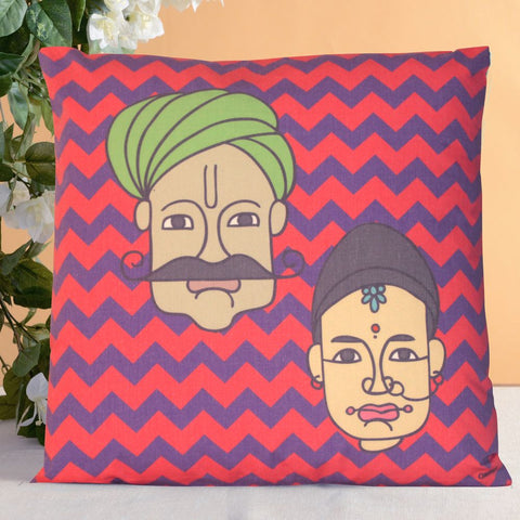 Traditional Couple Cushion Cover