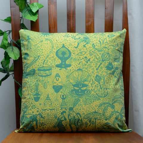 Bottle Green Indian culture Cushion Cover