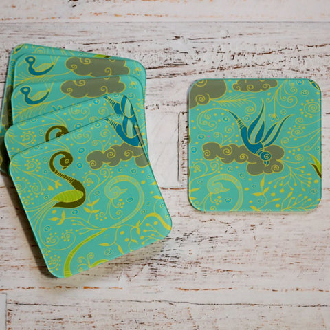 Set of 6 Acrylic Lively Bird Coasters