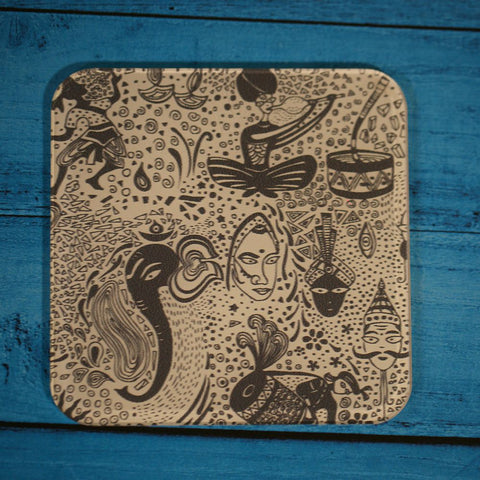 Set of 6 Acrylic The Indian Art Coasters