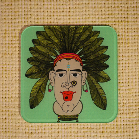 Set of 6 Acrylic Tribal Women Coasters