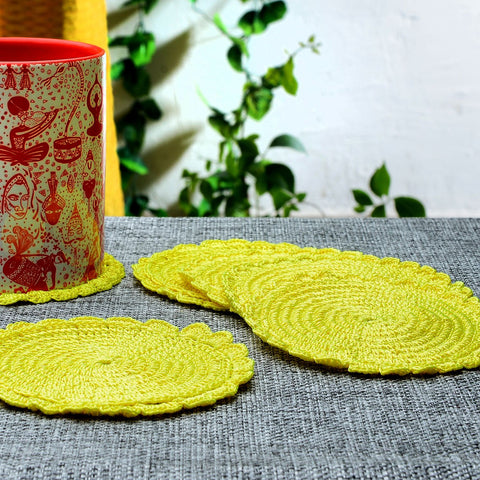 Set of 6 Silk Thread Yellow Crochet Coasters