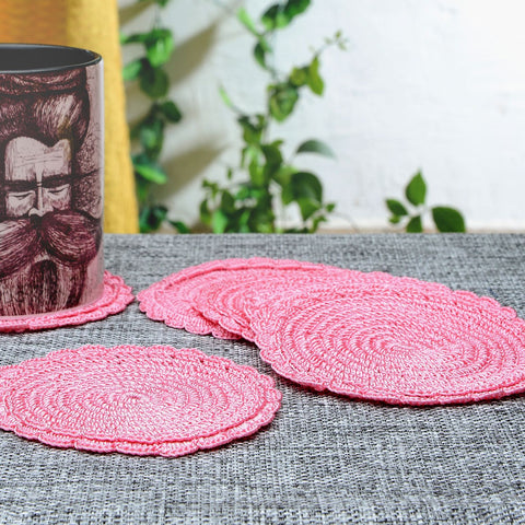 Set of 6 Silk Thread Pink Crochet Coasters