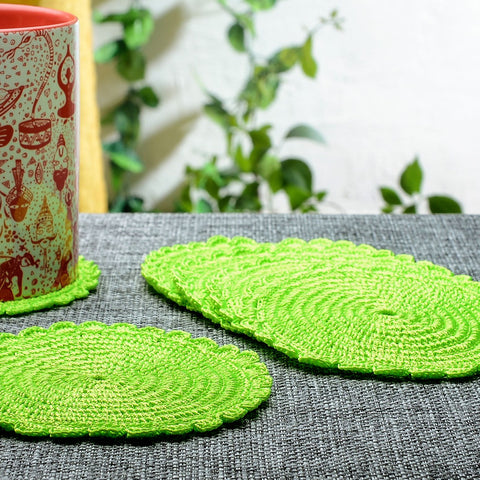 Set of 6 Silk Thread Neon Green Crochet Coasters