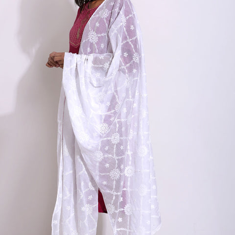 Hand Embroidery White Cotton Chikankari Dupatta