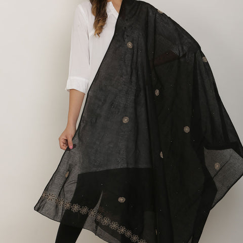 Hand Embroidery Black Cotton Chikankari Dupatta