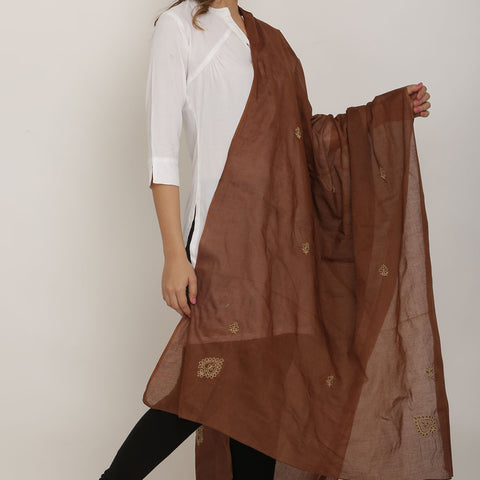 Hand Embroidery Brown Cotton Chikankari Dupatta