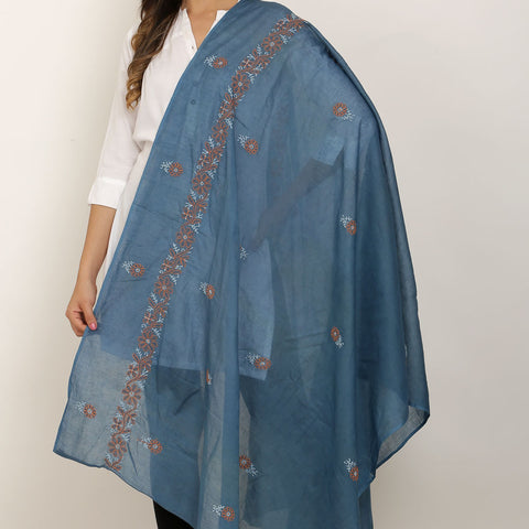 Hand Embroidery Navy Blue Cotton Chikankari Dupatta