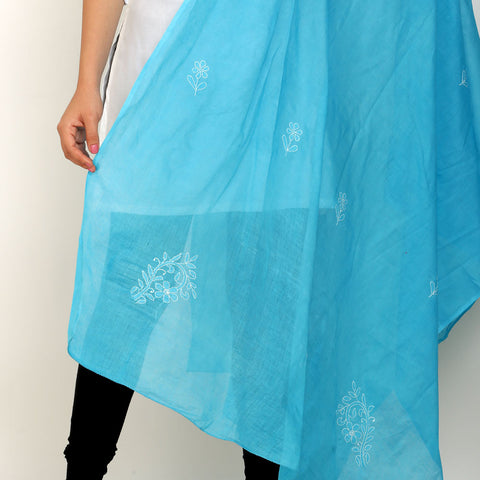 Hand Embroidery Blue Cotton Chikankari Dupatta
