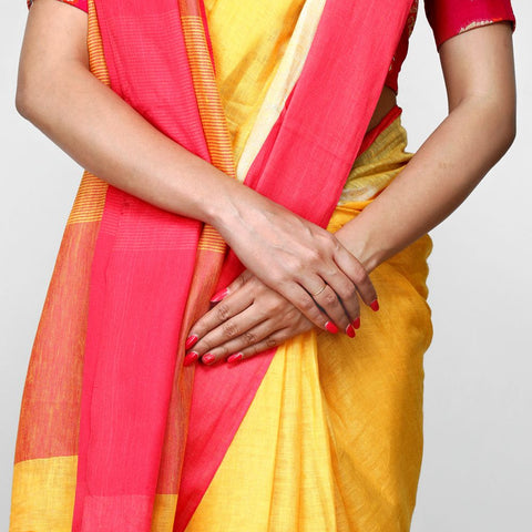 Handloom Linen Handwoven Yellow and Red with Silver Zari Saree