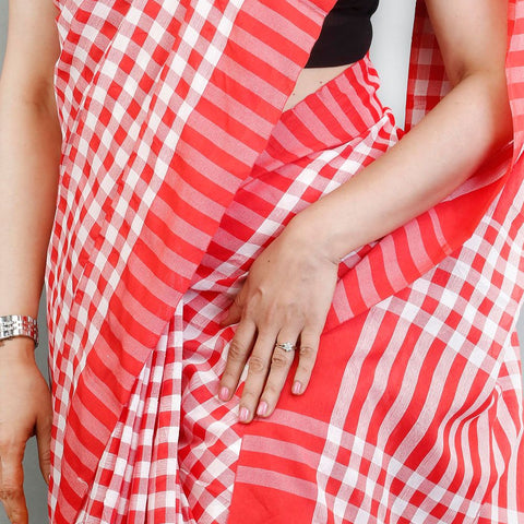Handloom Cotton Handwoven Red and White Saree