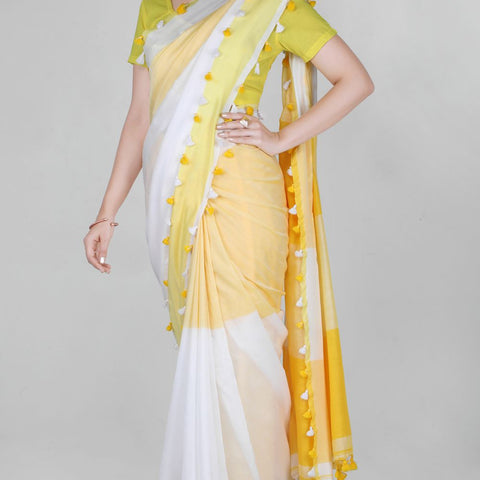 Handloom Cotton Handwoven Yellow and White Saree