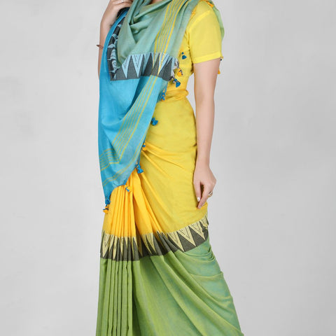 Handloom Cotton Hand Print Green, Blue and Yellow Saree