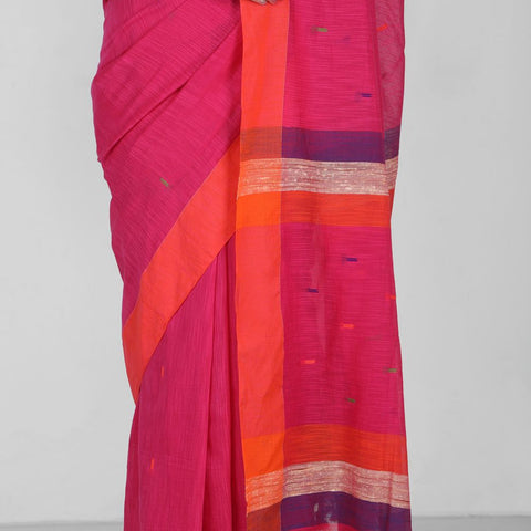 Handloom Cotton Handwoven Pink and Orange Saree