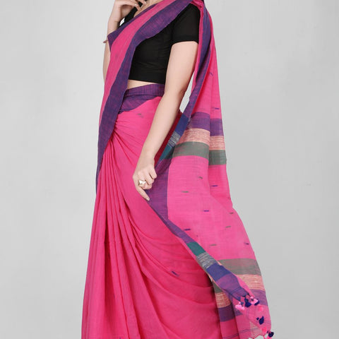 Handloom Cotton Handwoven Deep Pink and Purple Saree