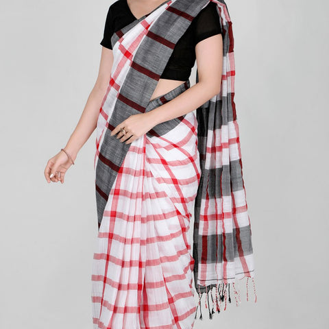 Handloom Cotton Handwoven White, Grey and Red Saree
