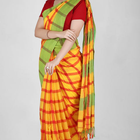 Handloom Cotton Handwoven Yellow, Green and Red Saree