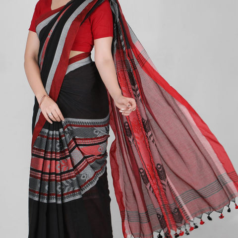 Handloom Cotton Hand Print Black and Red Saree