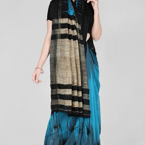 Handloom Cotton Hand Print Blue and Black Saree