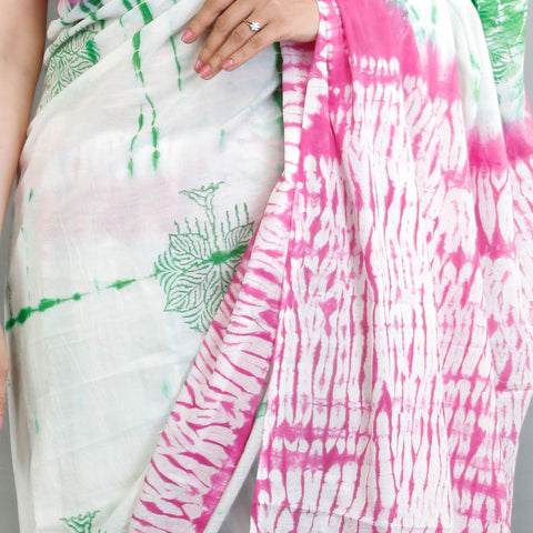 Handloom Cotton Hand Print Pink and White Saree