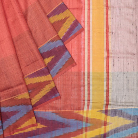 Bhagalpur tussar silk peach plain weave saree