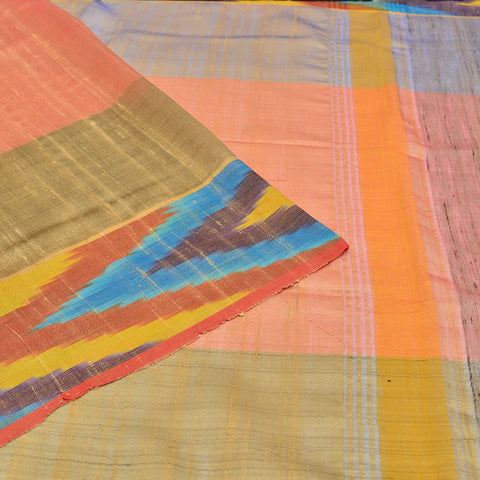 Bhagalpur tussar silk light peach plain weave saree