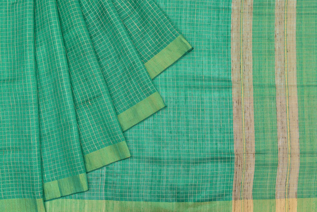 Bhagalpur tussar silk sea green plain weave saree