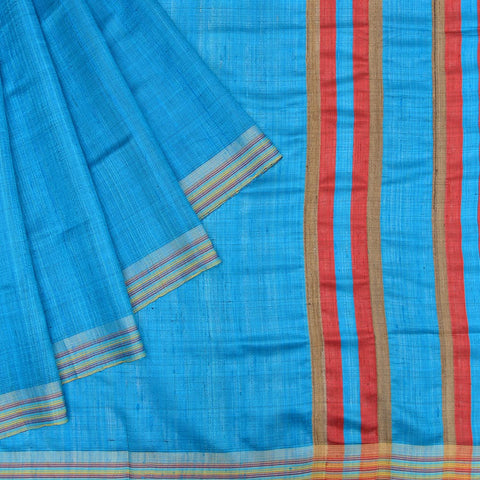 Bhagalpur tussar silk blue plain weave saree
