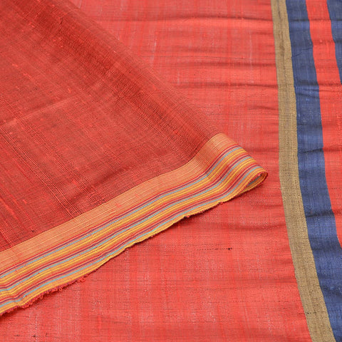 Bhagalpur tussar silk orangish red plain weave saree
