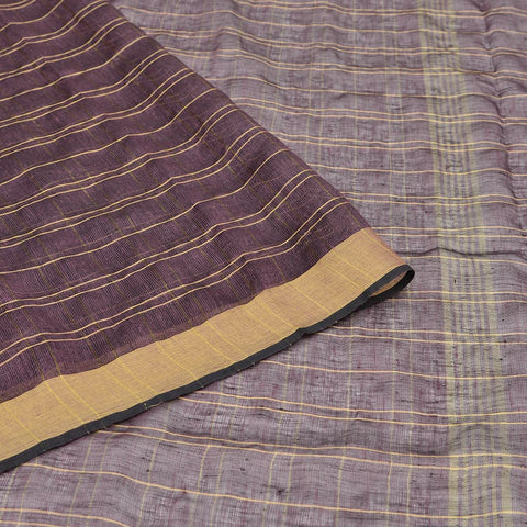 Bhagalpur Linen brown plain weave saree