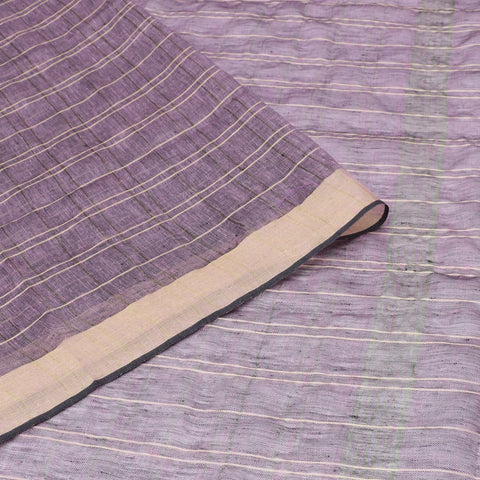 Bhagalpur Linen purple plain weave saree