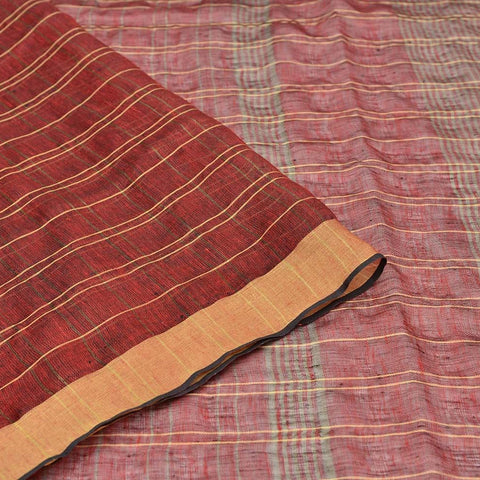 Bhagalpur Linen rust plain weave saree