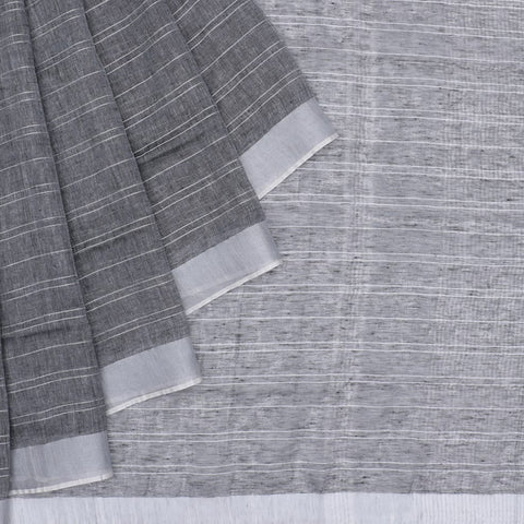 Bhagalpur Linen dark grey plain weave saree