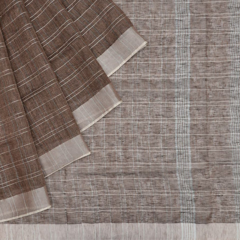 Bhagalpur Linen coffee plain weave saree
