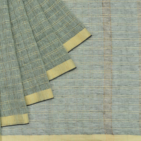 Bhagalpur Linen grey plain weave saree