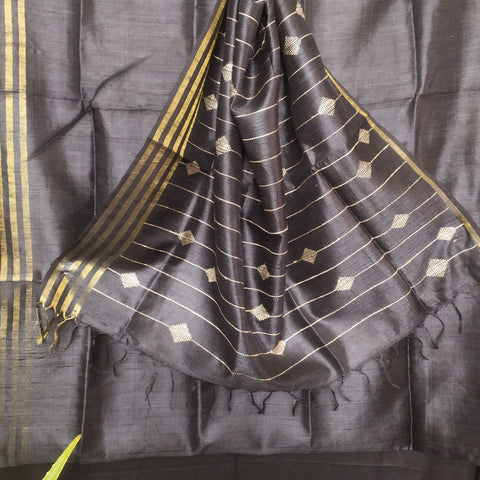 Handloom Silk Handwoven Black Saree