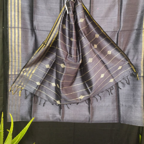 Handloom Silk Handwoven Dark Grey Saree