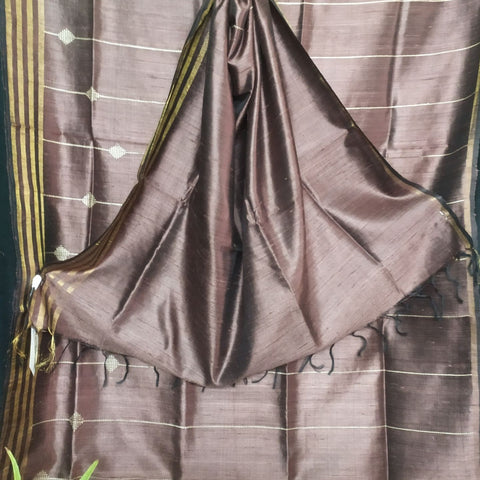 Handloom Silk Handwoven Brown Saree