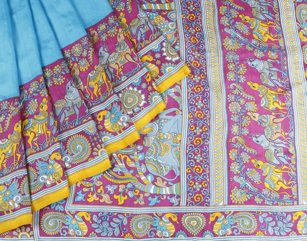 Bishtupur Silk Saree In Sky Blue