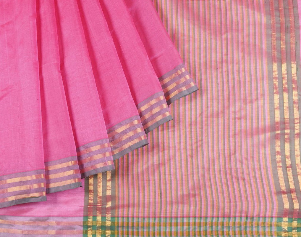 Mangalgiri Cotton Silk  Sicco Saree In Bubbelgum Pink