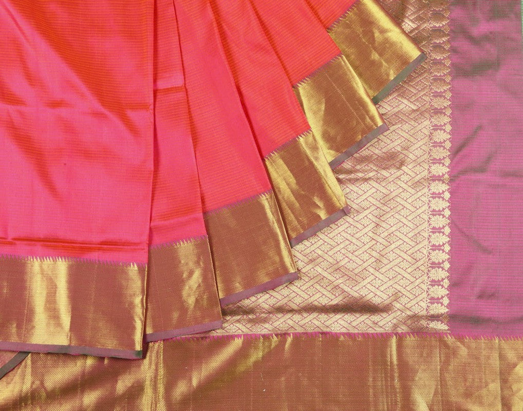 Kanjeevaram Silk Saree In Dark Peach