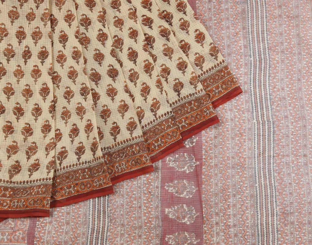Jaipur Kota Cotton Saree In Cream