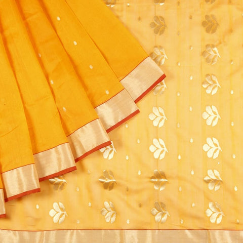 Chanderi Silk Cotton Saree In Ambre Yellow