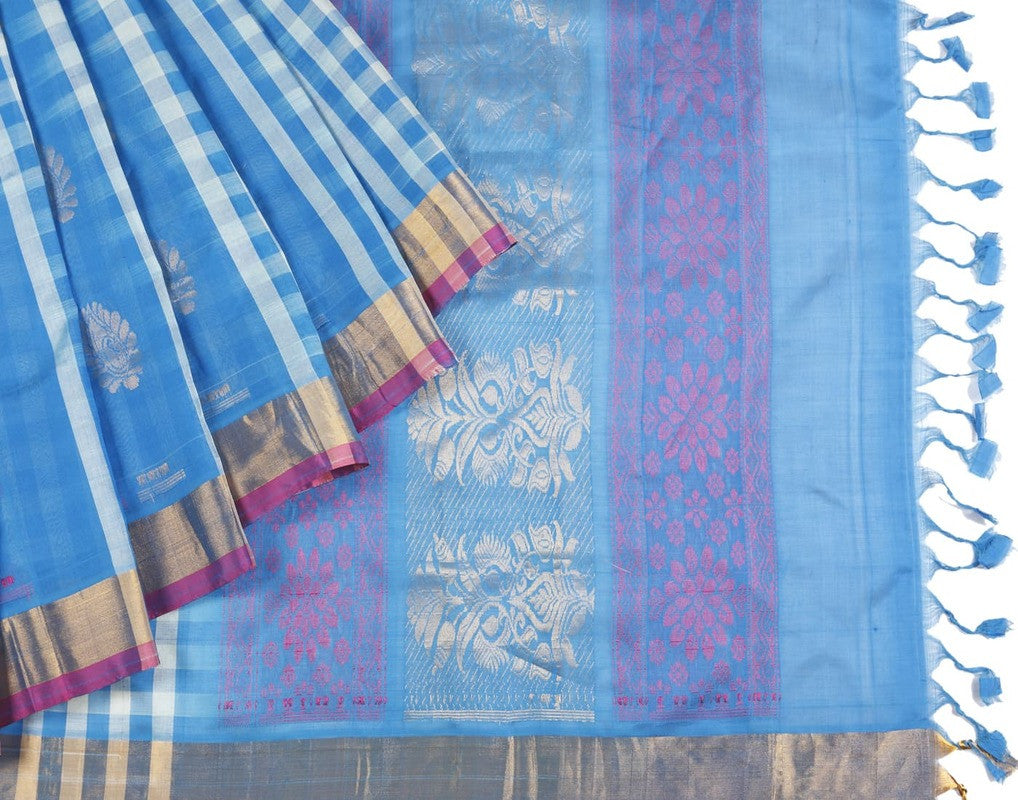 Mangalgiri Silk Saree In Blue